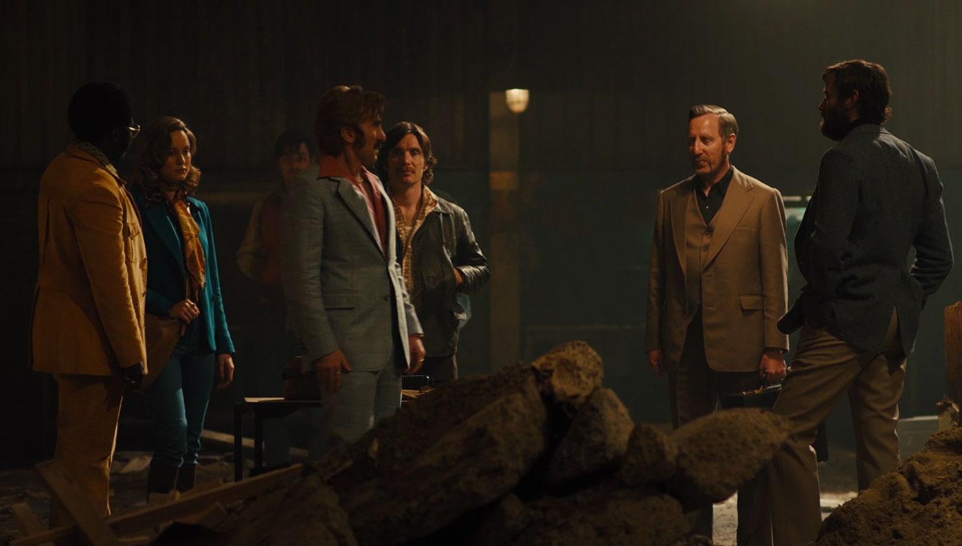 L-R Babou Ceesay, Brie Larson, Sam Riley, Sharlto Copley, Cillian Murphy, Michael Smiley, and Armie Hammer (Studio Canal)