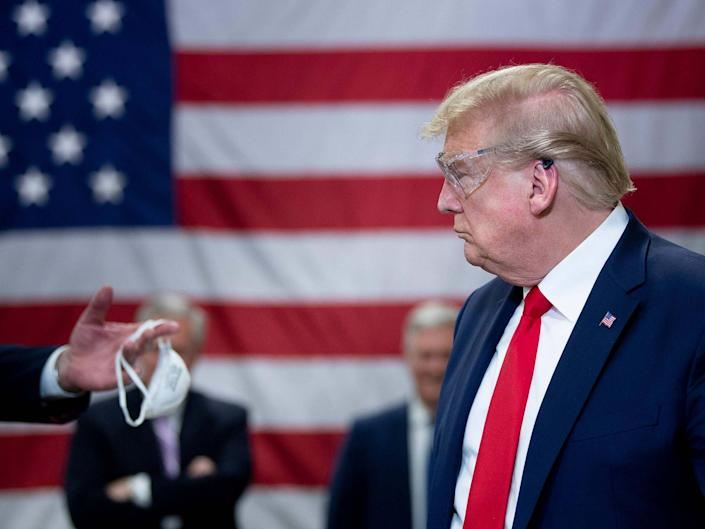 Donald Trump was criticised overnight as news broke of plans to disband the White House coronavirus task force: AFP via Getty Images