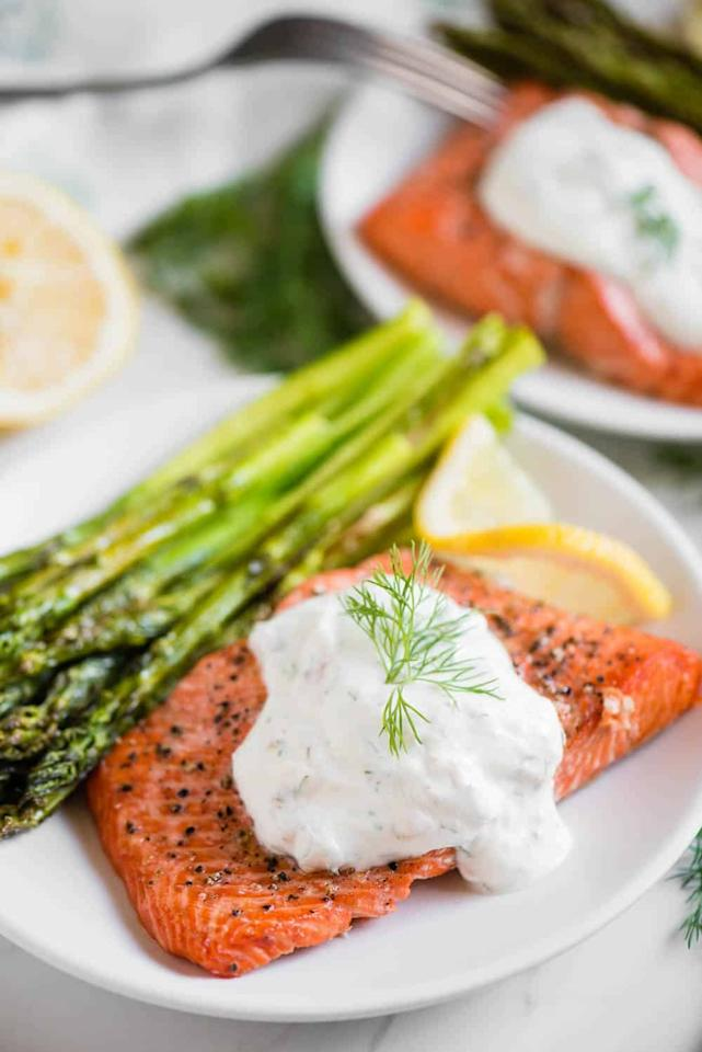 "<p>If you've never quite been able to master perfectly cooked salmon, the air fryer is your secret weapon. The fish comes out crispy on the outside and tender on the inside every single time.</p> <p><strong>Get the recipe:</strong> <a href=""https://selfproclaimedfoodie.com/air-fryer-salmon/"" target=""_blank"" class=""ga-track"" data-ga-category=""Related"" data-ga-label=""https://selfproclaimedfoodie.com/air-fryer-salmon/"" data-ga-action=""In-Line Links"">salmon and asparagus</a></p>"