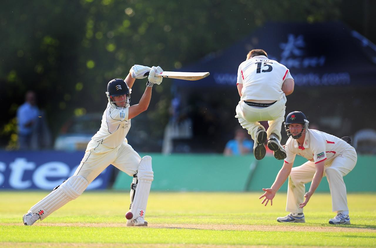 LIVERPOOL, ENGLAND - MAY 24:  Middlesex batsman Neil Dexter in action during day two of the LV County Championship division one match between Lancashire and Middlesex at Liverpool cricket club on May 24, 2012 in Liverpool, England.  (Photo by Stu Forster/Getty Images)  *** BESTPIX ***