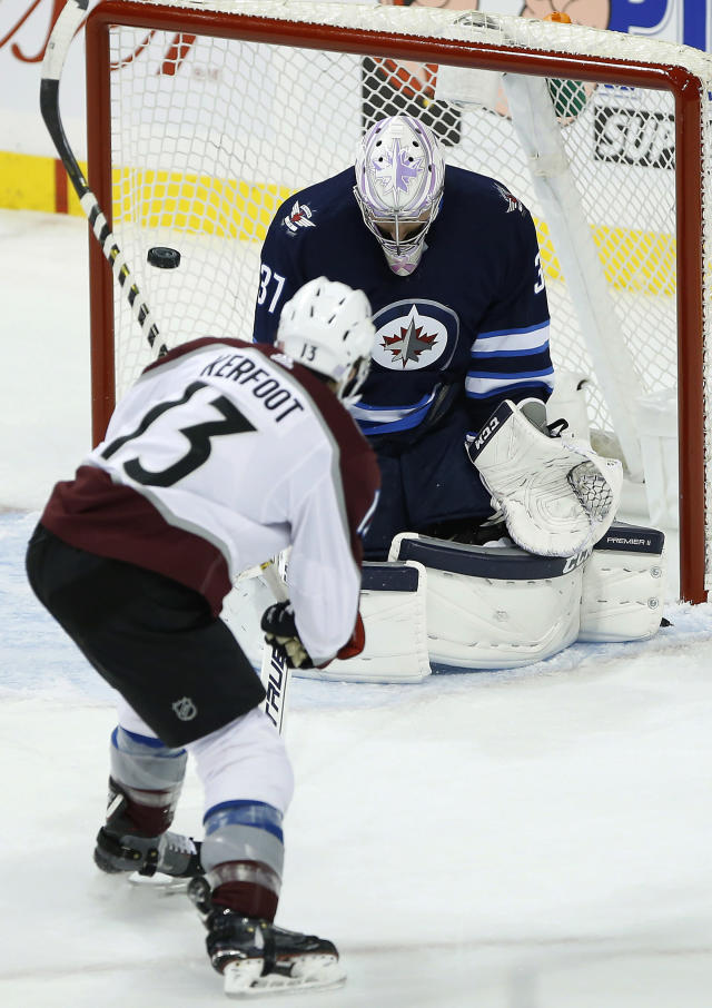 Winnipeg Jets goaltender Connor Hellebuyck (37) saves the shot by Colorado Avalanche's Alexander Kerfoot (13) and it goes wide during the first period of an NHL hockey game, Friday, Nov. 9, 2018, in Winnipeg, Manitoba. (John Woods/The Canadian Press via AP)
