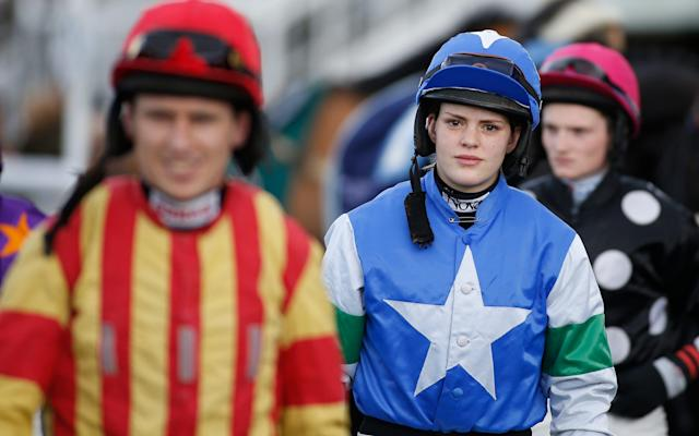 <span>Lizzie Kelly, the first woman jockey to ride in the Gold Cup for 33 years</span> <span>Credit: GETTY IMAGES </span>