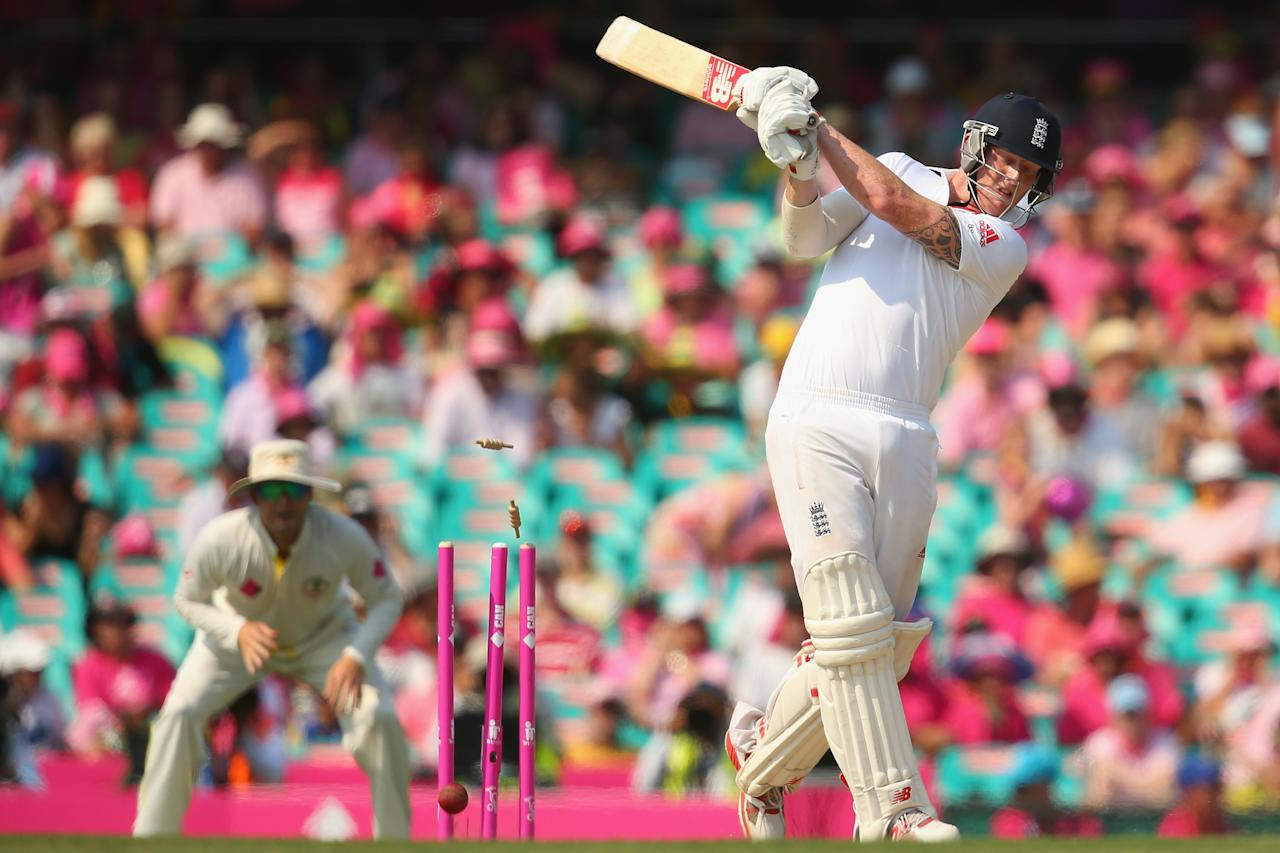 SYDNEY, AUSTRALIA - JANUARY 05:  Ben Stokes of England is bowled by Ryan Harris of Australia during day three of the Fifth Ashes Test match between Australia and England at Sydney Cricket Ground on January 5, 2014 in Sydney, Australia.  (Photo by Mark Kolbe/Getty Images)