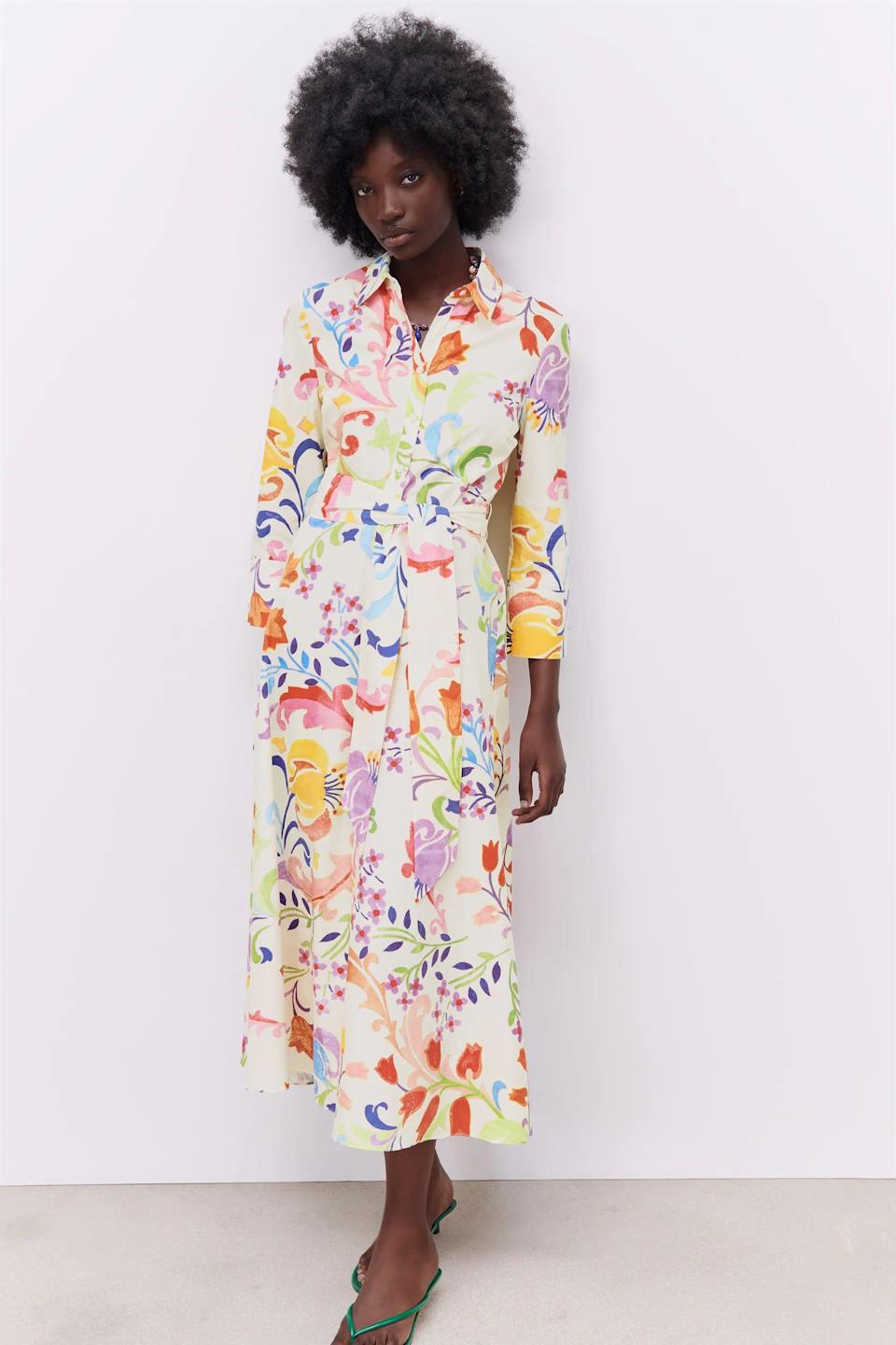 <p>This <span>Zara Printed Midi Dress</span> ($70) is so vibrant and fun.</p>