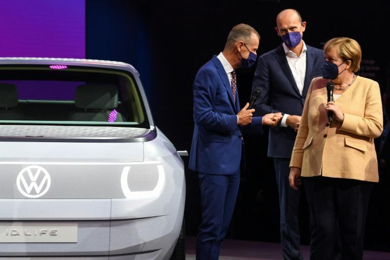 Volkswagen CEO Herbert Diess blamed Merkel's government for slowing down the electric revolution by incentivising diesel fuel for years. (AFP/Christof STACHE)