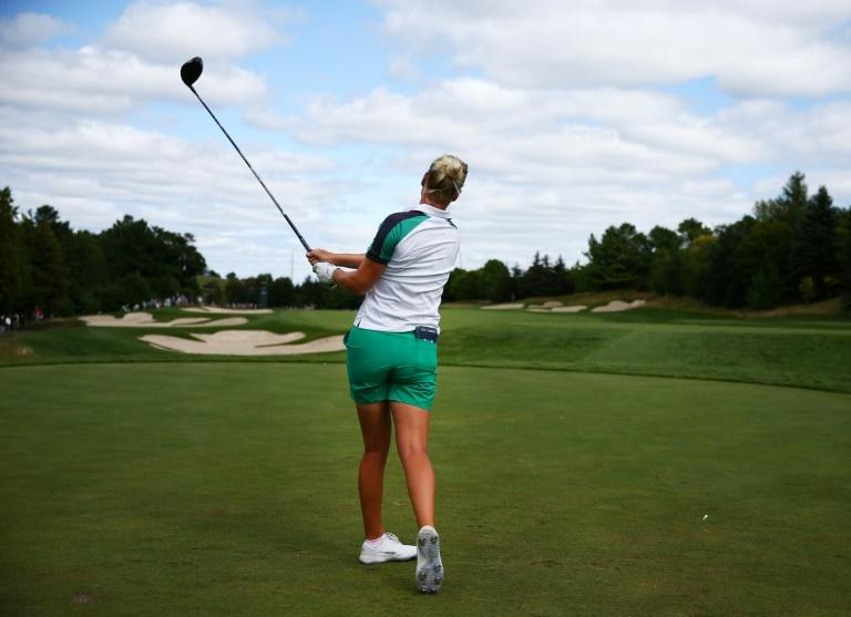 Nicole Broch Larsen of Denmark battled to a share of the lead after the third round of the CP Women's Open on Saturday
