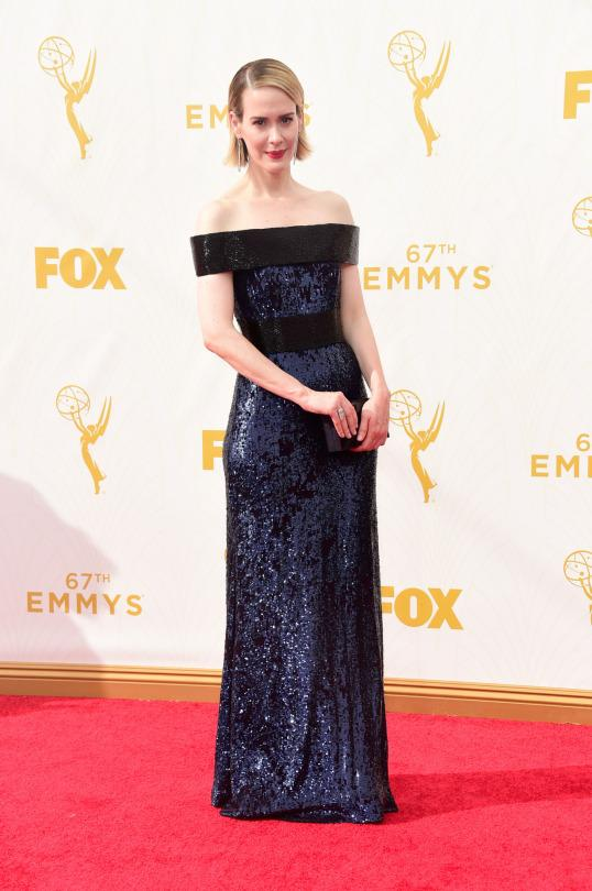 <p>Even if Sarah Paulson doesn't take home the Emmy, she'll leave tonight with the validation that she's Yahoo Style's winner of best dressed. Completely covered in sequins, the off-the shoulder section was in black and another stripe also offset the rest of all-over navy.<br /></p>