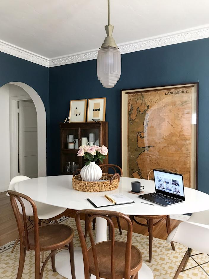 """<h1 class=""""title"""">Ginny Macdonald's WFH setup</h1> <div class=""""caption""""> After operating out of a co-working space this last year, designer Ginny Macdonald has returned to her former office—her dining room table—during the coronavirus health crisis. </div>"""