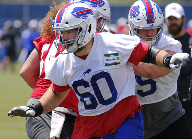 FILE - In this June 11, 2019, file photo Buffalo Bills offensive center Mitch Morse (60) runs drills during an NFL football team practice in Orchard Park N.Y. Morse is confident hes ready to play and isnt concerned about experiencing any setbacks upon consulting with numerous specialists in recovering from his fourth documented concussion. Morse spoke following practice Monday, and after he was cleared to play upon being released from the NFLs concussion protocol late last week. (AP Photo/Jeffrey T. Barnes, File)