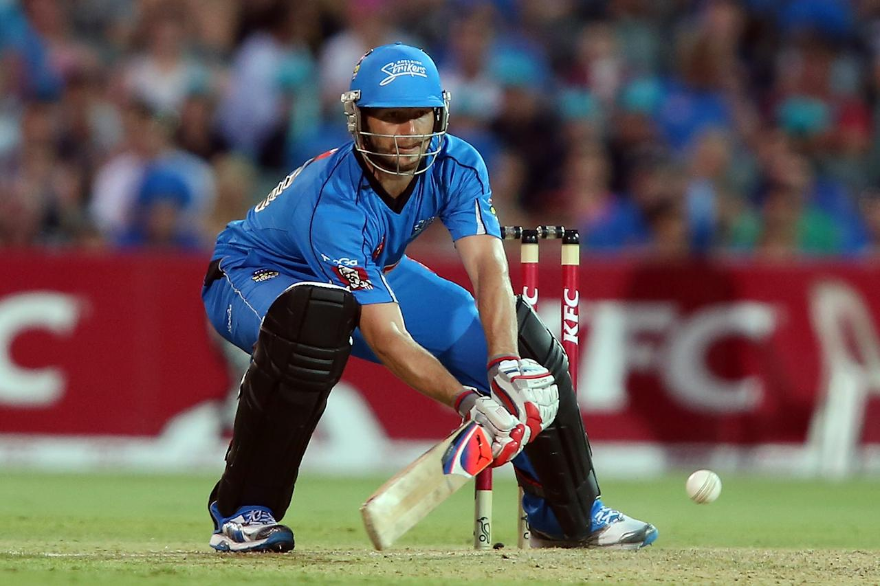 ADELAIDE, AUSTRALIA - DECEMBER 13: Michael Neser of the Strikers bats during the Big Bash League match between the Adelaide Strikers and the Brisbane Heat at Adelaide Oval on December 13, 2012 in Adelaide, Australia.  (Photo by Morne de Klerk/Getty Images)
