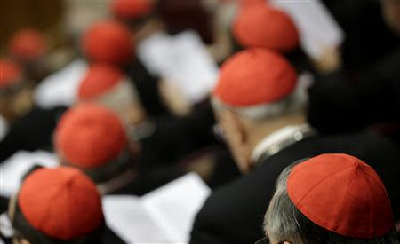 Cardinals are seen as Pope Francis leads a special consistory for the family in the Paul VI's hall at the Vatican February 20, 2014. REUTERS/Max Rossi