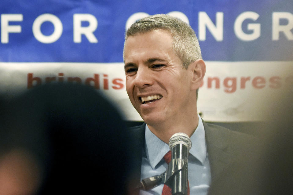 FILE - In this Nov. 6, 2018 file photo, Democratic Congressional candidate Anthony Brindisi reacts during a speech in Utica, N.Y. On Tuesday, Dec. 1, 2020. Former U.S. Rep. Claudia Tenney appeared on the verge of recapturing her old seat in Congress as election officials wrapped up counting ballots Monday, Feb. 1, 2021, in the nation's last undecided U.S. House race. (AP Photo/Heather Ainsworth, File)