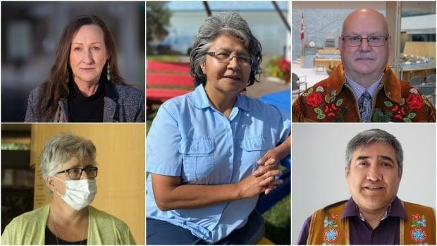 Clockwise from top left: Premier Caroline Cochrane, Monfwi MLA Jane Weyallon Armstrong, Minister of Municipal and Community Affairs Shane Thompson, Behchokǫ̀ Chief Clifford Daniels and Health Minister Julie Green gave an update on COVID-19 in the N.W.T. Thursday. (CBC - image credit)