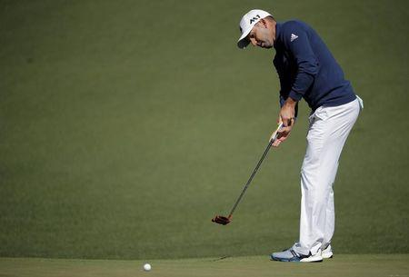 Sergio Garcia of Spain putts on the second hole in second round play during the 2017 Masters golf tournament at Augusta National Golf Club in Augusta, Georgia, U.S., April 7, 2017. REUTERS/Lucy Nicholson -