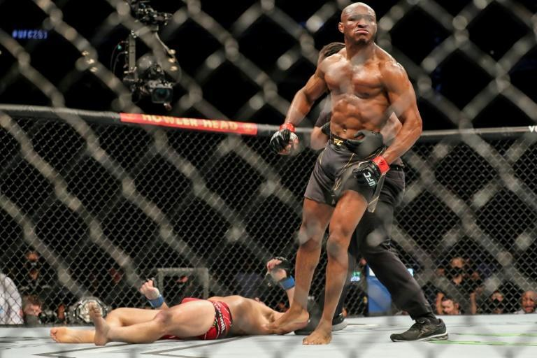 Nigerian-American welterweight champion Kamaru Usman knocked American challenger Jorge Masvidal out cold with a straight right to the chin