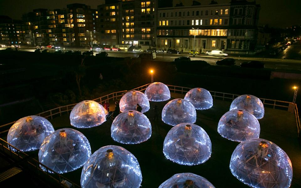The futuristic looking Rockwater Igloo Village with 30 pods on Hove seafront - Brighton Pictures