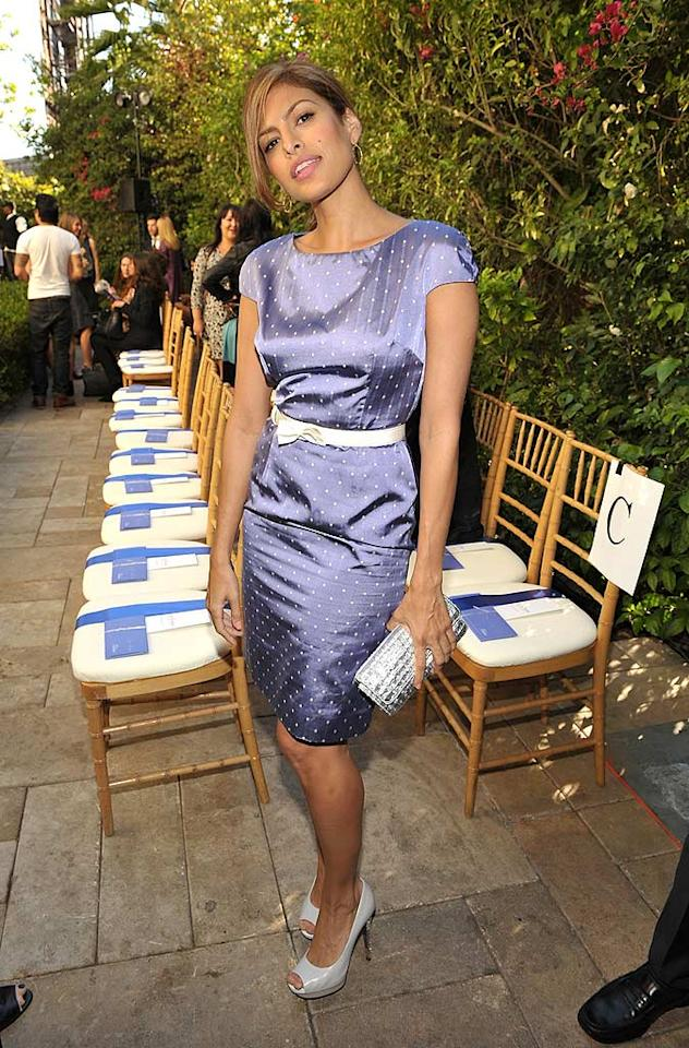 """Eva Mendes looked flawless as usual in a polka dot dress by Christian Dior. John Shearer/<a href=""""http://www.wireimage.com"""" target=""""new"""">WireImage.com</a> - October 30, 2009"""