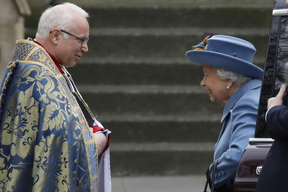 Britain's Queen Elizabeth II is greeted by The Very Reverend Dr David Hoyle, Dean of Westminster, as she arrives to attend the annual Commonwealth Service at Westminster Abbey in London on March 09, 2020. - Britain's Queen Elizabeth II has been the Head of the Commonwealth throughout her reign. Organised by the Royal Commonwealth Society, the Service is the largest annual inter-faith gathering in the United Kingdom. (Photo by Tolga AKMEN / AFP) (Photo by TOLGA AKMEN/AFP via Getty Images)