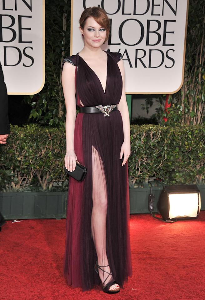 BEVERLY HILLS, CA - JANUARY 15:  Actress Emma Stone arrives at the 69th Annual Golden Globe Awards at The Beverly Hilton hotel on January 15, 2012 in Beverly Hills, California.  (Photo by George Pimentel/WireImage)