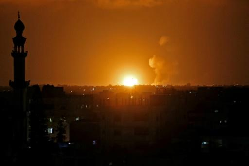 A fireball explodes in Khan Yunis in the southern Gaza Strip during Israeli bombardment on July 20, 2018