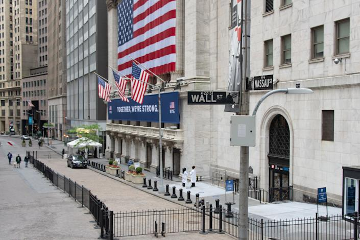NEW YORK, NEW YORK - MAY 28: A view of the New York Stock Exchange entrance on May 28, 2020 in New York City. The NYSE partially reopened its trading floor on May 25th after a two-month closure due to the COVID-19 pandemic. Government guidelines encourage wearing a mask in public with strong social distancing in effect as all 50 states in the USA have begun a gradual process to slowly reopen after weeks of stay-at-home measures to slow the spread of COVID-19. (Photo by Alexi Rosenfeld/Getty Images)