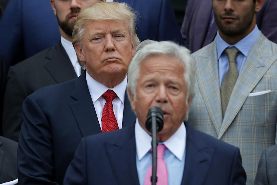 Did Patriots owner Robert Kraft instruct Donald Trump to bribe former senator Arlen Specter to make his Spygate investigation go away? It seems unlikely. (Photo by Chip Somodevilla/Getty Images)