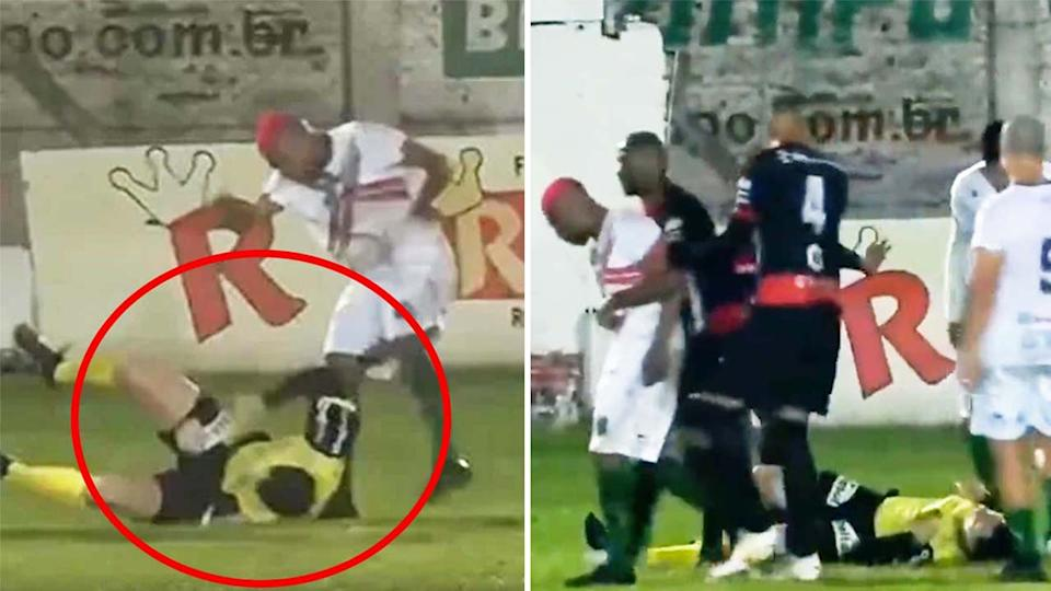 Sport Club Sao Paulo's William Ribeiro (pictured left) allegedly kicking a referee and (pictured right) being dragged away.