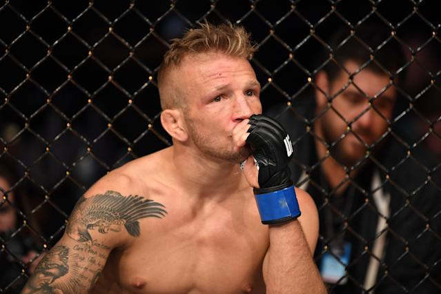 T.J. Dillashaw won't be stepping back into the Octagon for two years after he tested positive for a banned substance. (Photo by Josh Hedges/Zuffa LLC/Zuffa LLC via Getty Images)