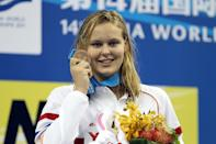 Bronze medalist Sharon Van Rouwendaal, 18, of the Netherlands poses after the Women's 200m Backstroke Final during Day Fifteen of the 14th FINA World Championships at the Oriental Sports Center on July 30, 2011 in Shanghai, China. (Clive Rose/Getty Images)