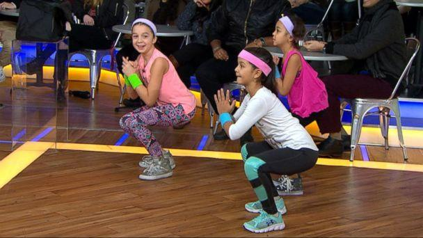 PHOTO: Kids perform workout moves from celebrity trainer Latreal Mitchell on 'Good Morning America,' Jan. 12, 2018. (ABC News)