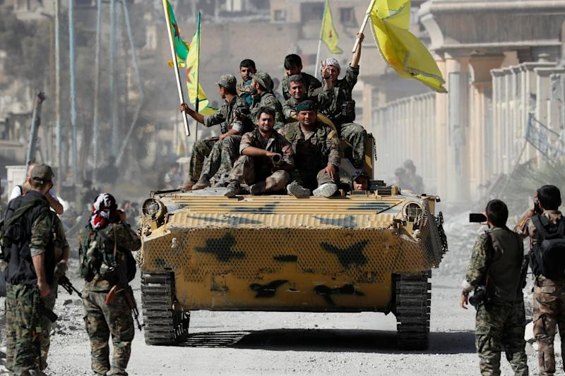 Fighters of Syrian Democratic Forces after Raqqa was liberated from Islamic State militants: REUTERS