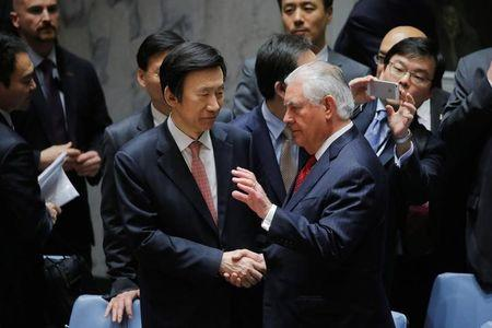 U.S. Secretary of State Rex Tillerson (R) greets South Korean Foreign Minister Yun Byung-Se following a meeting on the situation in North Korea at the United Nations (UN) in New York City, NY, U.S. April 28, 2017. REUTERS/Lucas Jackson