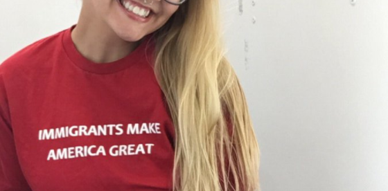 """Immigrants Make America Great"" is a twist on another phrase. (Photo: Twitter/bayyyydee)"