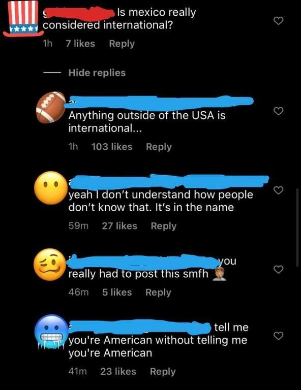 person who thinks international doesnt mean other countries
