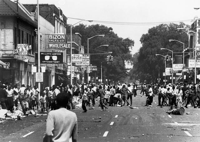 A demonstration in the streets of Detroit in August 1967.