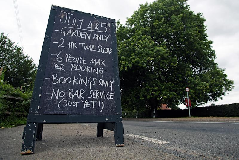 A general view of a sign outside the Fountain pub in Ashurst, Sussex, ahead of its reopening on Saturday 4th July, as the UK continues to introduce measures to gradually bring the country out of the coronavirus lockdown.