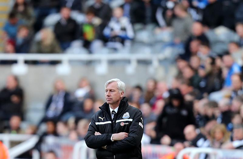 Newcastle United's manager Alan Pardew, after his team were defeated by Liverpool at the end of their English Premier League soccer match at St James' Park, Newcastle, England, Saturday, April 27, 2013. (AP Photo/Scott Heppell)