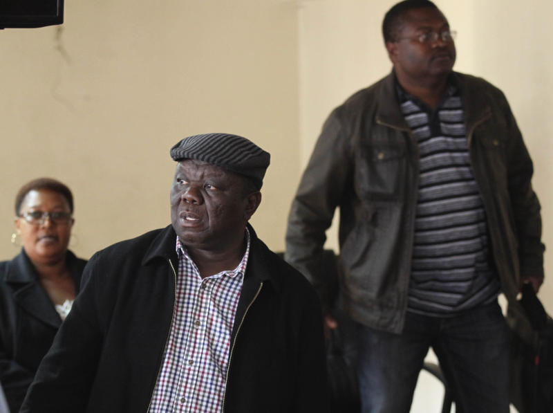 "Zimbabwe's main opposition leader Morgan Tsvangirai in Harare, Thursday, Aug. 1 2013. Tsvagirai said the election is ""null and void"" due to alleged violations in the voting process, but president Robert Mugabe has denied vote rigging. (AP Photo)"