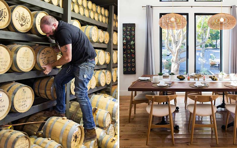 From left: Rum barrels at the Lyon Distilling Co., in St. Michaels; the dining room at Flamant. | Reema Desai
