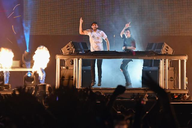 <p>San Holo and Martin Garrix performs during the 2018 Firefly Music Festival in Dover, Delaware. (Photo: Getty Images) </p>