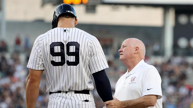 "<a class=""link rapid-noclick-resp"" href=""/mlb/players/9877/"" data-ylk=""slk:Aaron Judge"">Aaron Judge</a> will be re-evaluated in three weeks after sustaining a wrist injury against the <a class=""link rapid-noclick-resp"" href=""/mlb/teams/kan"" data-ylk=""slk:Kansas City Royals"">Kansas City Royals</a> on Thursday. (AP)"