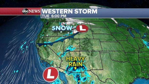 PHOTO: On Tuesday, two storms will enter the West Coast, one from the north and the other one from the South. (ABC News)