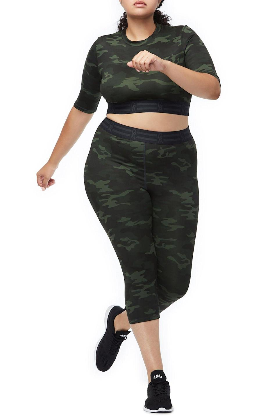 "<p>This crop-top camo set is not only supercute, it offers great support to fit your curves perfectly.<br><a href=""https://fave.co/2SxmYPe"" rel=""nofollow noopener"" target=""_blank"" data-ylk=""slk:Shop it:"" class=""link rapid-noclick-resp""><strong>Shop it:</strong> </a>The Icon Crop Top , $79 (take 25% off with code EXTRA25), <a href=""https://fave.co/2SxmYPe"" rel=""nofollow noopener"" target=""_blank"" data-ylk=""slk:goodamerican.com"" class=""link rapid-noclick-resp"">goodamerican.com</a><br><a href=""https://fave.co/2AwWqqp"" rel=""nofollow noopener"" target=""_blank"" data-ylk=""slk:Shop it:"" class=""link rapid-noclick-resp""><strong>Shop it:</strong> </a>The Icon Capri Legging, $85 (take 25% off with code EXTRA25),<a href=""https://fave.co/2AwWqqp"" rel=""nofollow noopener"" target=""_blank"" data-ylk=""slk:goodamerican.com"" class=""link rapid-noclick-resp""> goodamerican.com</a> </p>"