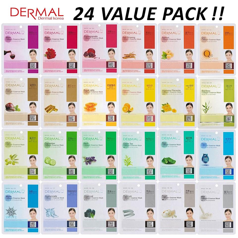 """<p>Behold, this <span>DERMAL Collagen Essence Full Face Facial Mask Sheet Set</span> ($14) is the ultimate skincare kit. You get 24 masks that all treat different needs.</p> <p>""""I was a little worried about the quality of this product initially because of the unbelievable price, but the masks are very high quality!"""" one customer wrote. """"You get an unbelievable variety that takes care of every skin concern you may have. On the packaging of the masks, it lists the benefits as well. Not only did the masks I tried out of the pack feel great, but they fit well too, which can sometimes be a problem with cheaper sheet masks. So happy for my purchase and I will absolutely be buying again!""""</p>"""