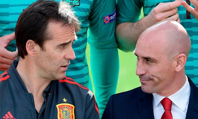Julen Lopetegui (left) and Lui Rubiales pictured on 5 June in Madrid when everything appeared rosy in the Spain camp as they prepared for the 2018 World Cup.