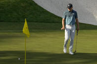 Jordan Spieth watches his putt on the 16th green during the final round of the Masters golf tournament on Sunday, April 11, 2021, in Augusta, Ga. (AP Photo/Charlie Riedel)
