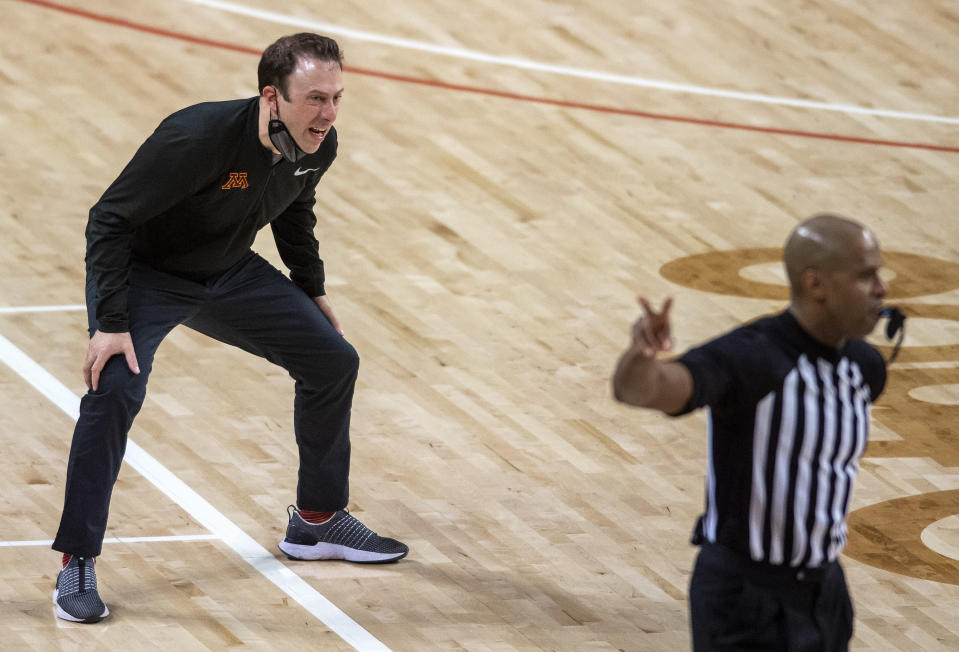 Minnesota head coach Richard Pitino shouts during the second half of the team's NCAA college basketball game against Nebraska on Saturday, Feb. 27, 2021, in Lincoln, Neb. (Francis Gardler/Lincoln Journal Star via AP)