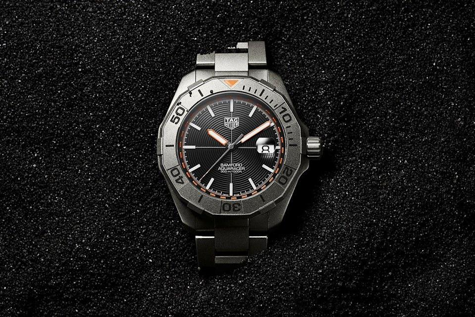 """<p>We could have picked any of luxury watch customisers Bamford Watch Department's releases this year – its GMT Peanuts """"Snoopy"""" was particularly tasty – but for sheer design balls we've gone for its collaboration with <a href=""""https://www.esquire.com/uk/watches/g33457947/tag-heuer-watches-men/"""" rel=""""nofollow noopener"""" target=""""_blank"""" data-ylk=""""slk:Tag Heuer"""" class=""""link rapid-noclick-resp"""">Tag Heuer</a>, on this Aquaracer. Reimagined in a thoroughly modern palate of textures and colours – sand-blasted titanium case, black concentrically grooved face and bright orange accents – it felt contemporary and cool. One of the nicest Aquaracers in ages.</p><p>£3,250; <a href=""""https://www.tagheuer.com/gb/en/"""" rel=""""nofollow noopener"""" target=""""_blank"""" data-ylk=""""slk:tagheuer.com"""" class=""""link rapid-noclick-resp"""">tagheuer.com</a></p>"""