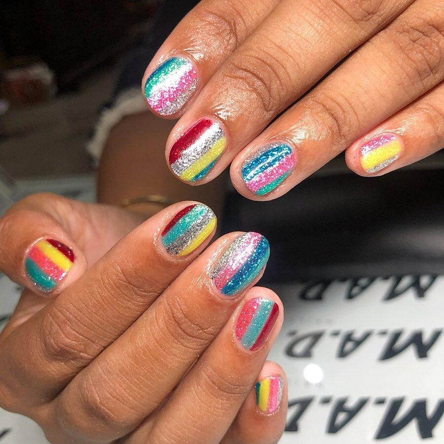Yep, more sparkles—this time in stripes that look just like ribbon candy. Don't worry about color coordination, anything goes when it comes to glitter.
