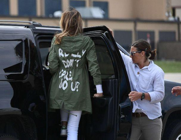 PHOTO: First Lady Melania Trump departs Andrews Air Force Base in Maryland, June 21, 2018, wearing a jacket emblazoned with the words 'I really don't care, do u?' (Mandel Ngan/AFP/Getty Images)